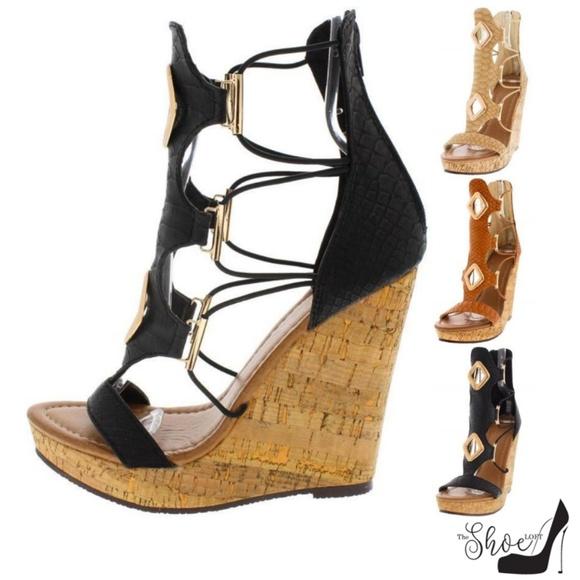 The Shoe Loft Shoes - Kestia Black Snake Open Toe Strappy Wedge